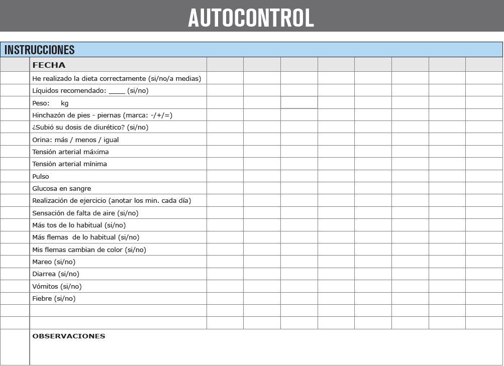 Fichas de autocontrol y autocuidado